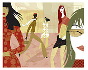 Figures Digital Art Prints - Fall Fashion Print by Lisa Henderling