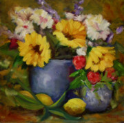 Lemons Originals - Fall Flower Still-life by Linda Hiller