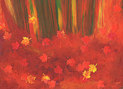 Orange Green Pastels Posters - Fall Forest Floor by jrr Poster by First Star Art 