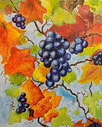 Concord Painting Prints - Fall Grapes Print by Carole Powell