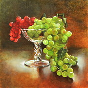 Glass Table Reflection Painting Originals - Fall Grapes by Cynthia Peterson