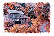 Old Cabins Posters - Fall Grist Mill Poster by Steve McKinzie