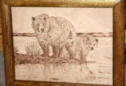 Wood Pyrography Prints - Fall Grizzly and Cub Print by Angel Abbs-Portice