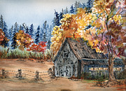 Old Barn Paintings - Fall Hide and Seek by Meldra Driscoll