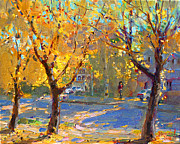 Autumn Trees Painting Posters - Fall in my Neighborhood Poster by Ylli Haruni