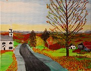 New Hampshire Drawings Posters - Fall in New Hampshire Poster by Bill Hubbard