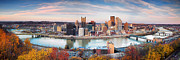 Pittsburgh Skyline. Framed Prints - Fall in Pittsburgh  Framed Print by Emmanuel Panagiotakis