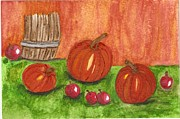 Postcard Painting Originals - Fall in the air by MaryLee Parker