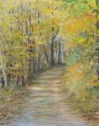 Fall Scenes Painting Framed Prints - Fall Lane Framed Print by Penny Neimiller