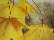 Leaf Pastels Originals - Fall Leaves 1 by Teresa Dye