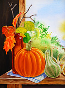 Green Framed Prints - Fall Leaves Pumpkin Gourd Framed Print by Irina Sztukowski