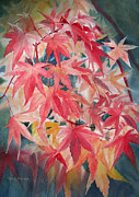 Red Leaves Painting Posters - Fall Maple Leaves Poster by Sharon Freeman