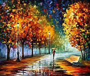 Leonid Afremov Metal Prints - Fall Marathon Metal Print by Leonid Afremov