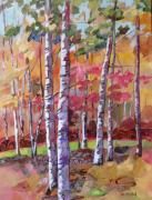 Autumn Trees Mixed Media Prints - Fall Medley Print by Marty Husted