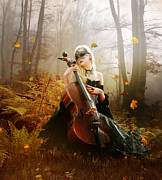 Cello Prints - Fall Melody Print by Karen Koski