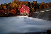 Grist Mill Posters - Fall Morning At The Historic Red Mill Poster by George Oze