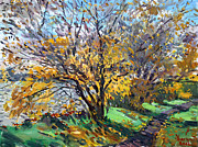 Autumn Landscape Painting Prints - Fall of Leaves Print by Ylli Haruni