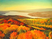 Autumn Trees Mixed Media Prints - Fall On Hudson River - New York State Print by Dan Haraga