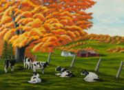 Autumn Scene Painting Prints - Fall on the Farm Print by Charlotte Blanchard
