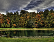 Indiana Autumn Prints - Fall on the Lake Print by Sharon Meyer