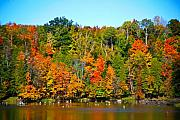 Fall Colors Autumn Colors Mixed Media Posters - Fall on the water Poster by Robert Pearson