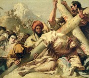 Religious Jesus On Cross Prints - Fall on the way to Calvary Print by G Tiepolo