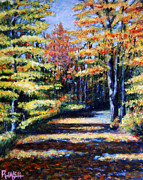 Yellow Leaves Painting Posters - Fall Path Poster by Paul Walsh