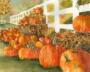 Pumpkins Paintings - Fall Pumpkins by Laura Ramsey