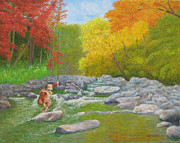 Netting Painting Prints - Fall Rainbow on Big Creek Print by Jim Hefley