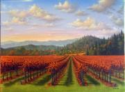 California Vineyard Paintings - Fall Red Vines by Patrick ORourke