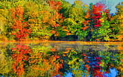 Fall Scenes Framed Prints - Fall Reflected  Framed Print by Emily Stauring