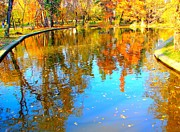 Autumn Leaf On Water Prints - Fall Reflections Print by Ana Maria Edulescu