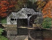 Grist Mill Paintings - Fall Reflections by Dan Butner