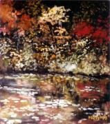 Fall Scenes Paintings - Fall Reflections by Sue Tesin