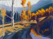 Aspen Trees Pastels Prints - Fall Reflections Print by Zanobia Shalks