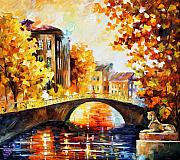 Building Painting Originals - Fall River Bridge by Leonid Afremov