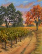 Napa Valley Vineyard Paintings - Fall Road by Patrick ORourke