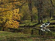 Indiana Landscape Posters - Fall Rowboat Poster by Michael L Kimble