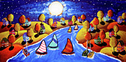 Yellow Sailboats Originals - Fall Sailing by Renie Britenbucher
