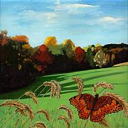 Fall Scene Posters - Fall scene of Ohio nature painting Poster by Linda Apple