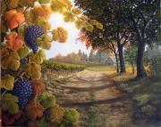 California Vineyard Paintings - Fall Scene by Patrick ORourke