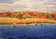 Cape Cod Paintings - Fall Shellfishing in New England by Charles Harden
