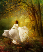 White Dress Digital Art Posters - Fall Splendor Poster by Karen Koski