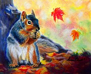 Nut Paintings - Fall Squirrel by Susan  Clark