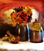Colored Background Art - Fall Still Life by Marsha Heiken