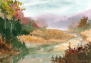 Trout Stream Landscape Framed Prints - Fall Stream Study Framed Print by Sean Seal