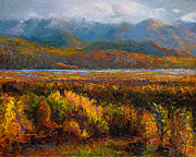 Mountain Range Paintings - Fall by Talya Johnson