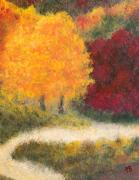 Tennessee Painting Originals - Fall trail Cherokee Forest by Paul Bartoszek