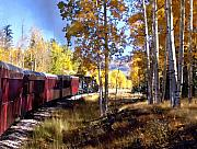 Aspens Posters - Fall Train Ride New Mexico Poster by Kurt Van Wagner