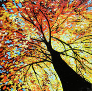Autumn Woods Painting Posters - Fall Tree Oil Painting Poster by Beata Sasik